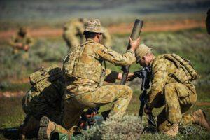 Australian Army mortars in action on Exercise Hamel 2016