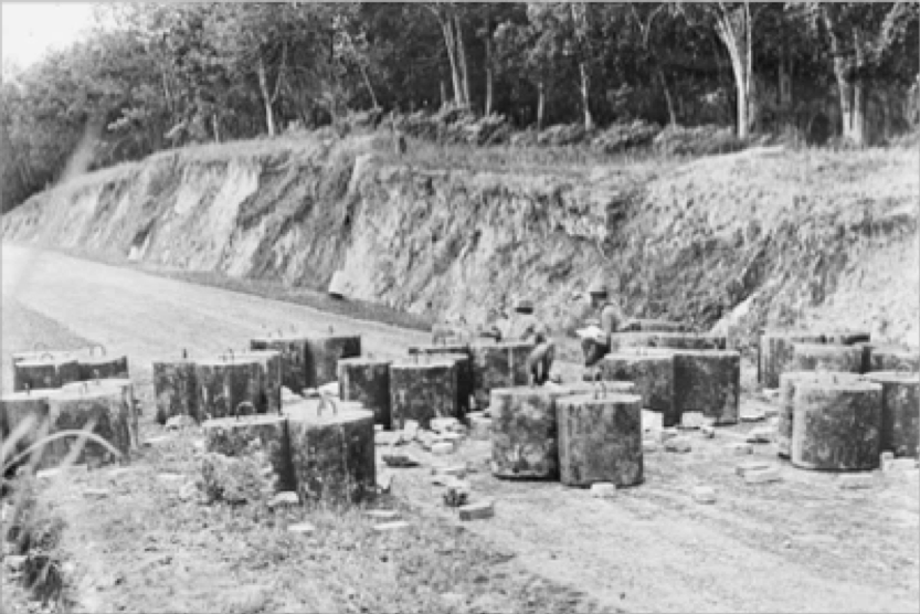 Black and white photo of British obstacles emplaced at Slim River